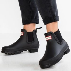Hunter chelsea rain boots black 5